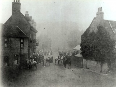 The Falcon Inn - Denham - The Falcon circa 1914 with cottages where the village green is now